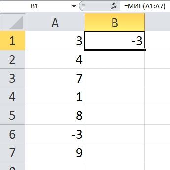 МИН Excel